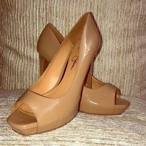 Jessica Simpson Peep-Toe Nude Patent Heels Sz. 8M